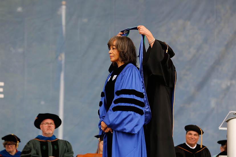 Deborah Jackson receiving degree